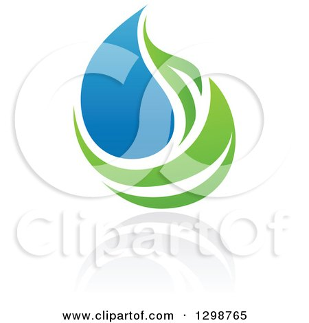 Clipart of a Blue Water Drop and Green Leaf Ecology Design with a Reflection 14 - Royalty Free Vector Illustration by elena