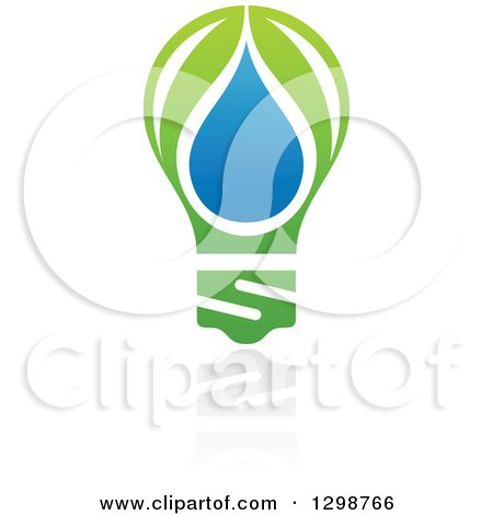Clipart of a Blue Water Drop and Green Leaf Light Bulb Ecology Design with a Reflection - Royalty Free Vector Illustration by elena