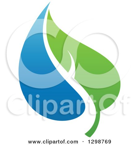 Clipart of a Blue Water Drop and Green Leaf Ecology Design 15 - Royalty Free Vector Illustration by elena