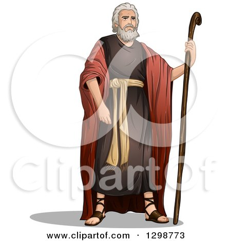 Clipart of the Prophet Moses Standing with a Staff - Royalty Free Vector Illustration by Liron Peer