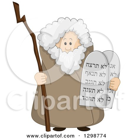 Clipart of the Prophet Moses Standing with a Staff and the Ten Commandments - Royalty Free Vector Illustration by Liron Peer