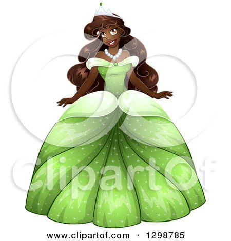Clipart of a Beautiful African Princess Wearing a Green Ball Gown - Royalty Free Vector Illustration by Liron Peer