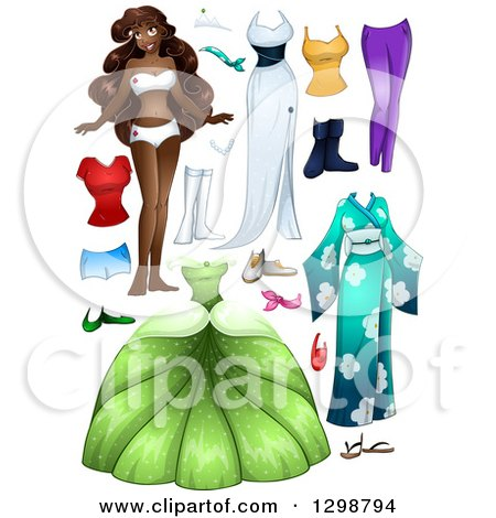 Clipart of a Beautiful African Princess with Accessories and Apparel - Royalty Free Vector Illustration by Liron Peer
