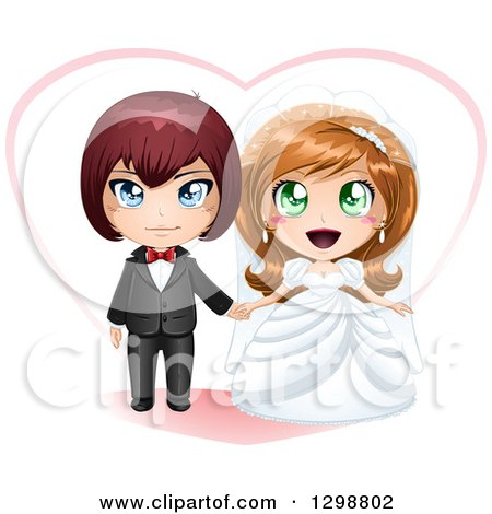 Clipart of a Red Haired White Groom and Dirty Blond Bride Wedding Couple with a Heart - Royalty Free Vector Illustration by Liron Peer