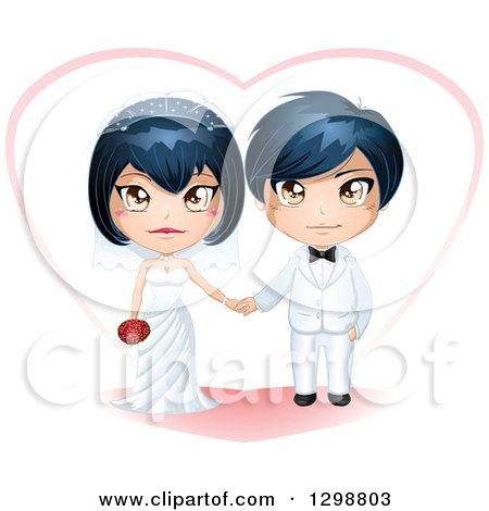 Clipart of a Happy Asian Wedding Couple with a Heart - Royalty Free Vector Illustration by Liron Peer