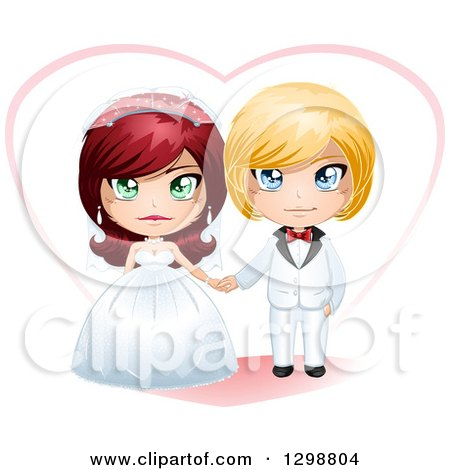 Clipart of a Red Haired White Bride and Blond Groom Wedding Couple with a Heart - Royalty Free Vector Illustration by Liron Peer