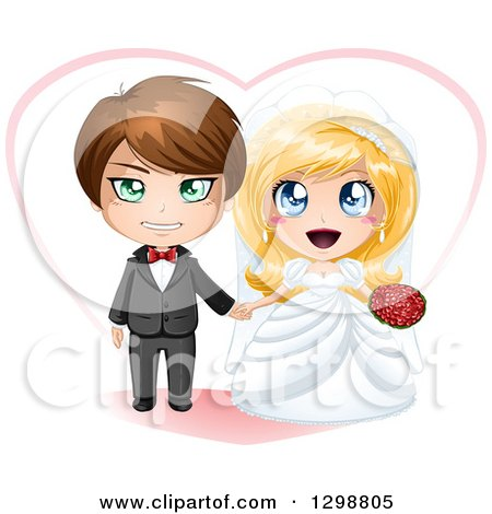 Clipart of a Brunette White Groom and Excited Blond Bride Wedding Couple with a Heart - Royalty Free Vector Illustration by Liron Peer