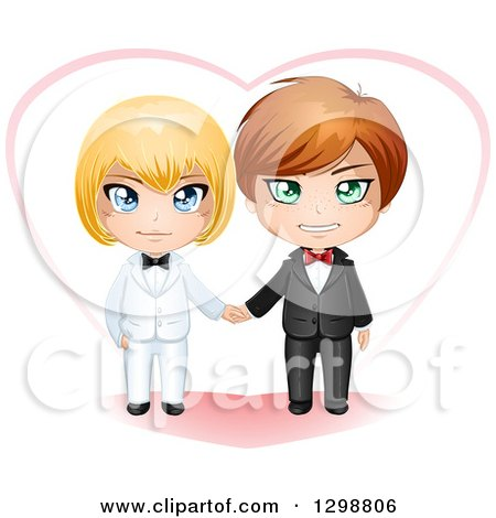 Clipart of a Happy Caucasian Gay Wedding Couple Holding Hands in Front of a Heart - Royalty Free Vector Illustration by Liron Peer