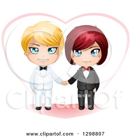 Clipart of a Happy White Gay Wedding Couple Holding Hands in Front of a Heart - Royalty Free Vector Illustration by Liron Peer