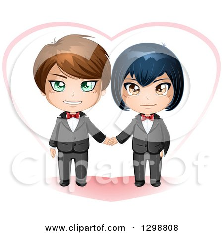 Clipart of a Happy Caucasian and Asian Gay Wedding Couple Holding Hands in Front of a Heart - Royalty Free Vector Illustration by Liron Peer