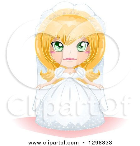 Clipart of a Green Eyed, Blond White Bride in Her Wedding Gown - Royalty Free Vector Illustration by Liron Peer