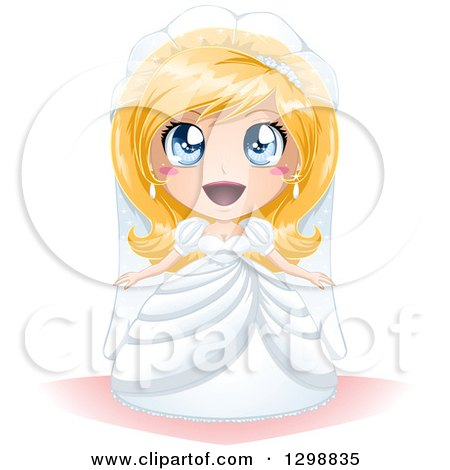 Clipart of a Surprised Blue Eyed, Blond White Bride in Her Wedding Gown - Royalty Free Vector Illustration by Liron Peer