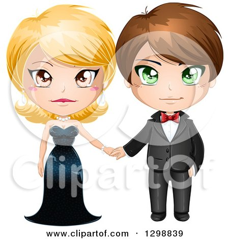 Clipart Of A Blond White Woman In A Black Evening Gown Holding Hands With A Brunette Man In A Formal Tuxedo Royalty Free Vector Illustration