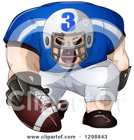 Clipart of a Buff White Male American Football Player Shouting and Holding the Ball - Royalty Free Vector Illustration by Liron Peer