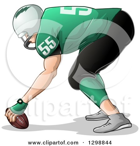 Clipart of a White Male American Football Player Facing Left and Holding the Ball - Royalty Free Vector Illustration by Liron Peer