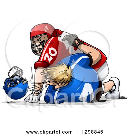 Clipart of White Male American Football Players Fighting and Punching - Royalty Free Vector Illustration by Liron Peer