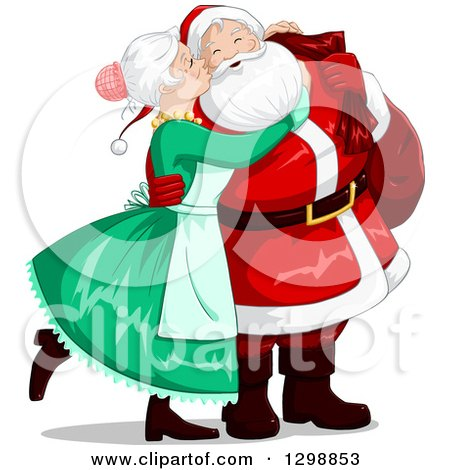 Clipart of a Sweet Mrs Claus Kissing Santa on the Cheek on Christmas Eve - Royalty Free Vector Illustration by Liron Peer