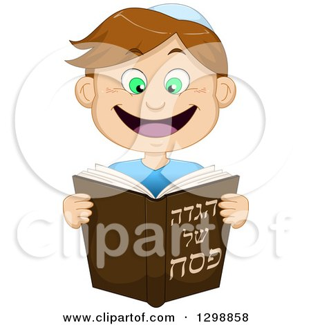 Clipart of a Cartoon Happy Brunette White Boy Reading from Haggadah of Passover - Royalty Free Vector Illustration by Liron Peer