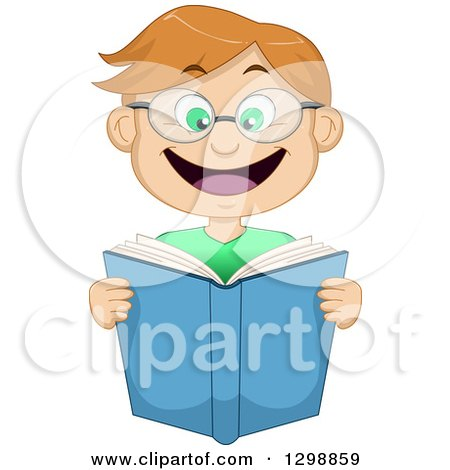 Clipart of a Cartoon Excited Dirty Blond White Boy Wearing Glasses and Reading a Book - Royalty Free Vector Illustration by Liron Peer