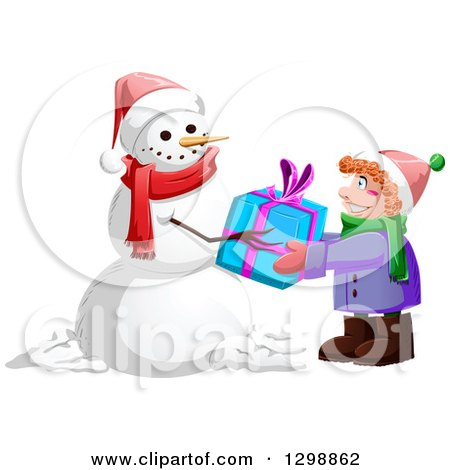 Clipart of a Christmas Snowman Giving a Gift to a Red Haired Caucasian Boy - Royalty Free Vector Illustration by Liron Peer
