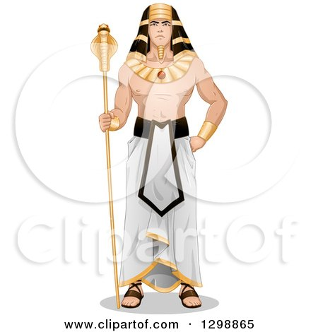 Clipart of a Muscular Ancient Egyptian Pharaoh Standing with a Scepter - Royalty Free Vector Illustration by Liron Peer