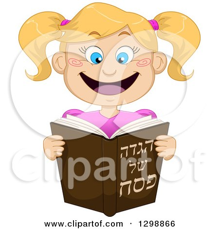 Clipart of a Cartoon Happy Blond White Girl Reading from Haggadah of Passover - Royalty Free Vector Illustration by Liron Peer