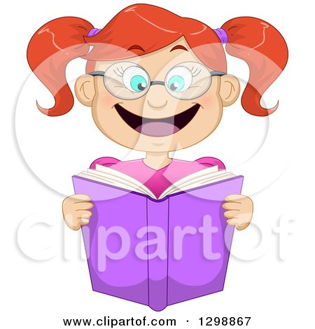 Clipart of a Cartoon Excited Red Haired White Girl Wearing Glasses and Reading a Book - Royalty Free Vector Illustration by Liron Peer