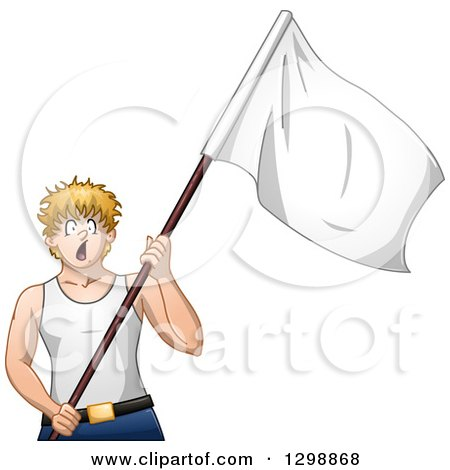 Clipart of a Blond White Man Shouting and Surrendering with a White Flag - Royalty Free Vector Illustration by Liron Peer