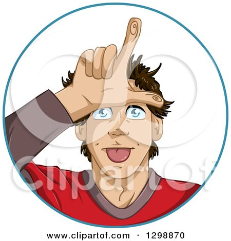 Clipart of a Cartoon Young White Man Gesturing Loser with His Hand over His Forehead, Inside a Circle - Royalty Free Vector Illustration by Liron Peer