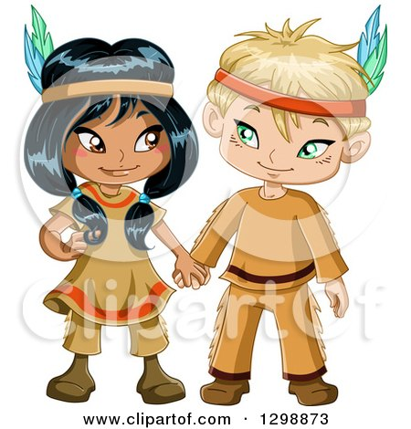 Clipart of a Cute Native American Indian Boy and Girl Holding Hands - Royalty Free Vector Illustration by Liron Peer