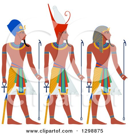 Clipart of a Line of Ancient Egypt Pharaohs - Royalty Free Vector Illustration by Liron Peer