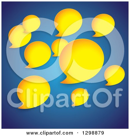 Clipart of Yellow Speech Bubbles on Blue - Royalty Free Vector Illustration by ColorMagic