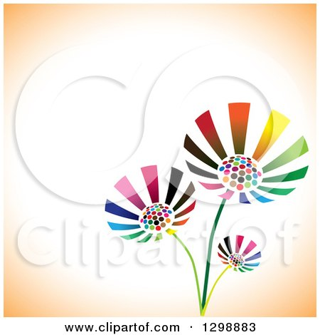 Clipart of Three Vibrant Colorful Flowers over White and Orange with Text Space - Royalty Free Vector Illustration by ColorMagic