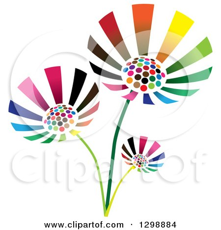 Clipart of Three Vibrant Colorful Flowers - Royalty Free Vector Illustration by ColorMagic