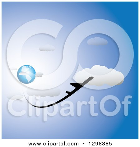 Clipart of a Commercial Airplane Flying Away from Blue Planet Earth, in a Blue Cloudy Sky - Royalty Free Vector Illustration by ColorMagic