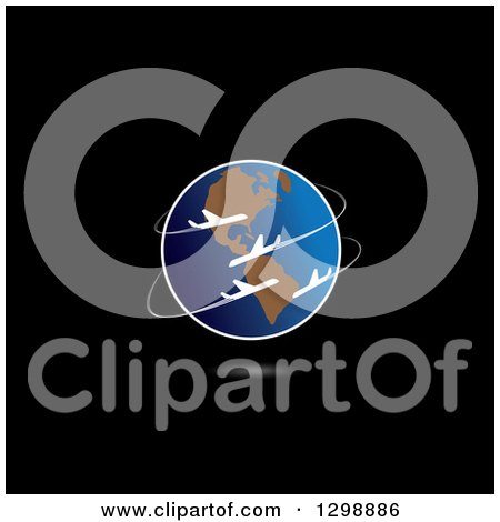 Clipart of Commercial Airplanes Circling Planet Earth, with a Shadow on Black - Royalty Free Vector Illustration by ColorMagic