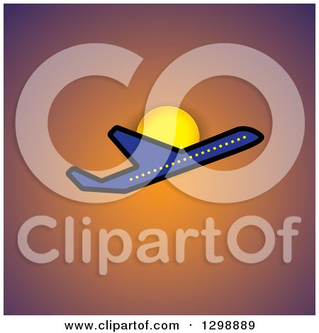 Clipart of a Blue Commercial Airplane and Sun over Orange - Royalty Free Vector Illustration by ColorMagic