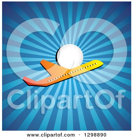Clipart of a Gradient Commercial Airplane and Sun with Blue Rays - Royalty Free Vector Illustration by ColorMagic
