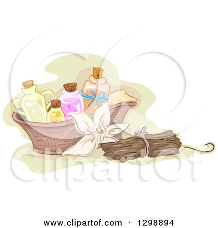 Clipart of a Vanilla Flower with Sticks and Basket of Essential Oils - Royalty Free Vector Illustration by BNP Design Studio