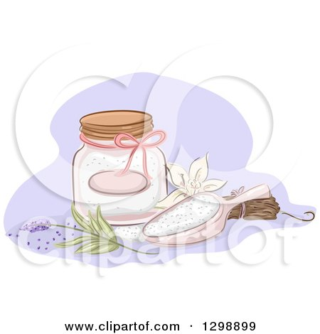 Clipart of a Jar and Scoop of Bath Salts with Vanill and Lavender - Royalty Free Vector Illustration by BNP Design Studio