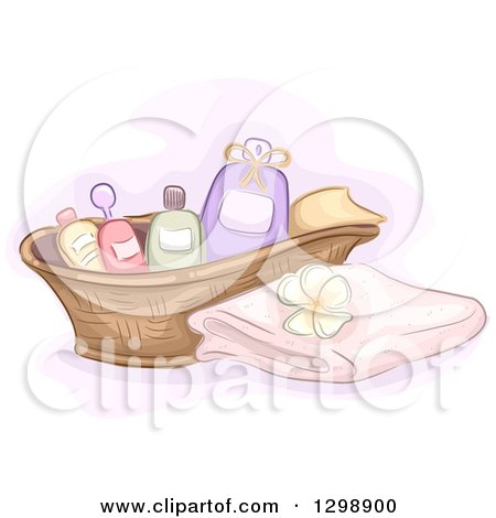 Clipart of a Basket of Spa Massage Oils by a Towel and Frangipani Flower - Royalty Free Vector Illustration by BNP Design Studio