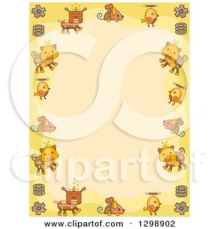 Clipart of a Steampunk Border of Dog Mouse Bird and Cat Robots with Gears and Springs over Yellow - Royalty Free Vector Illustration by BNP Design Studio