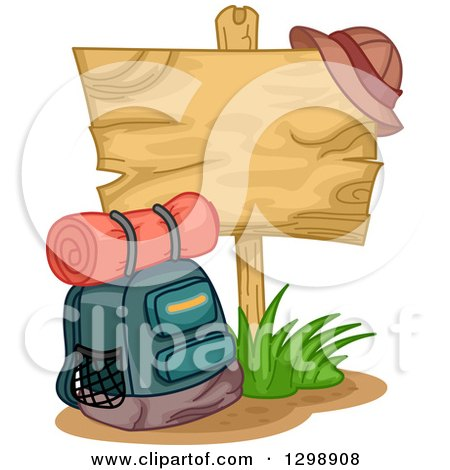 Clipart of a Camping Backpack by a Blank Wooden Sign with a Hat - Royalty Free Vector Illustration by BNP Design Studio