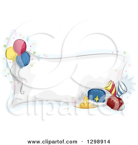 Clipart of a Sketched Blank Homecoming Dance Banner with Balloons, Crowns and a Football - Royalty Free Vector Illustration by BNP Design Studio