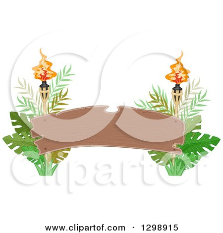 Clipart of a Blank Wood Arch Banner with Tiki Torches and Jungle Leaves - Royalty Free Vector Illustration by BNP Design Studio