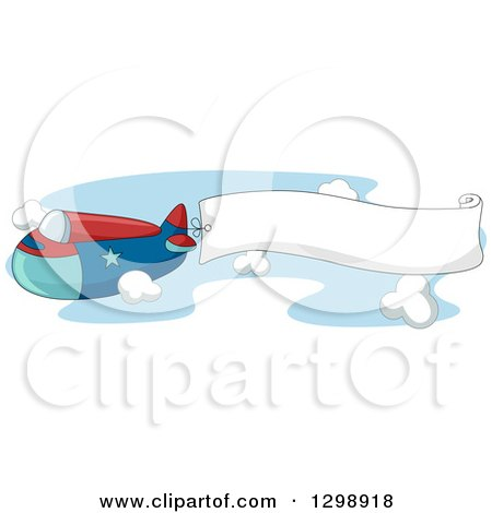 Clipart of a Red and Blue Airplane Flying a Banner Through the Sky - Royalty Free Vector Illustration by BNP Design Studio