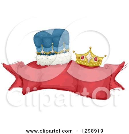 Clipart of a Blank Red Ribbon Banner with King and Queen Crowns - Royalty Free Vector Illustration by BNP Design Studio