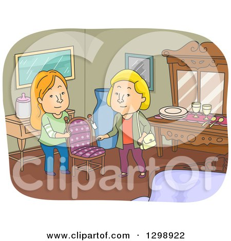 Clipart of a White Woman Looking at a Chair in an Antique Shop - Royalty Free Vector Illustration by BNP Design Studio