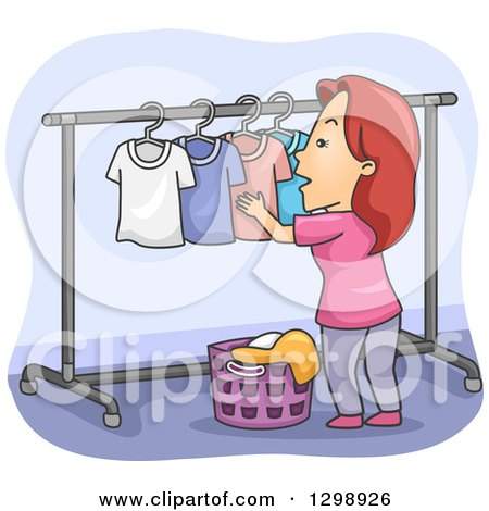 Clipart of a Cartoon Red Haired White Woman Hanging Laundry on a Drying Rack - Royalty Free Vector Illustration by BNP Design Studio