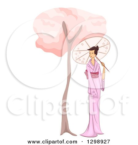 Clipart of a Sketched Asian Woman in a Kimono, Strolling with a Parasol by a Cherry Blossom Tree - Royalty Free Vector Illustration by BNP Design Studio
